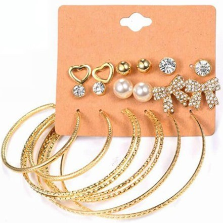 Woman Earring Set Stud & Hoop 298