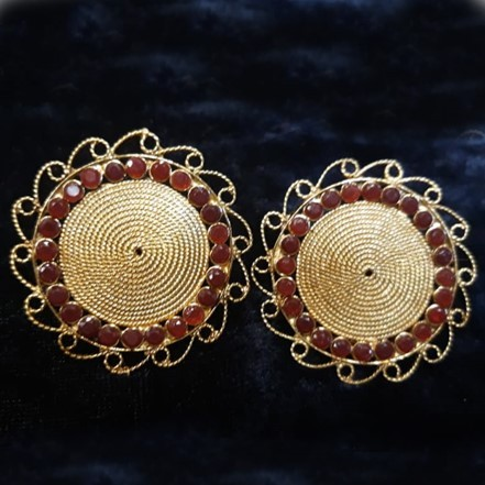 Woman Earring Set 28 red gold
