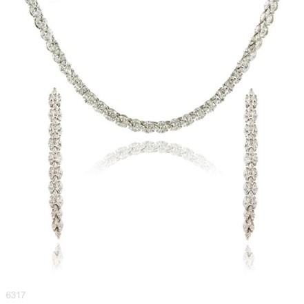 Woman Jewelry Set No 26 Silver Pearl