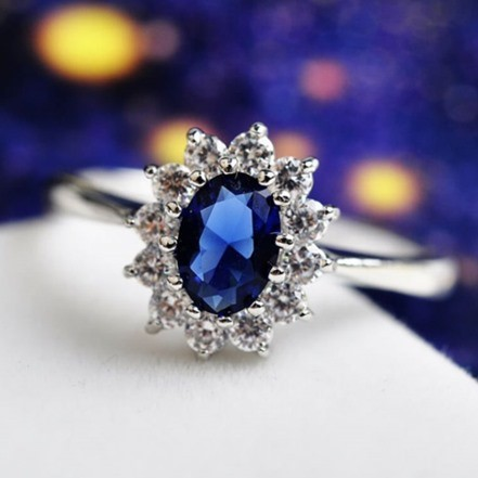 Woman Rings JM-65 Blue German Diamond