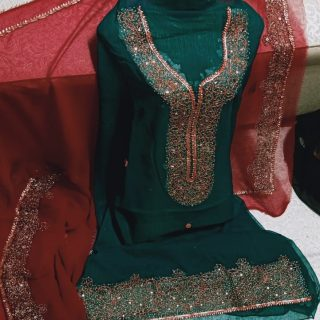 Kundan work, Total Adda work, pour Soft Karinkal, Two paice suite Ferozi Red