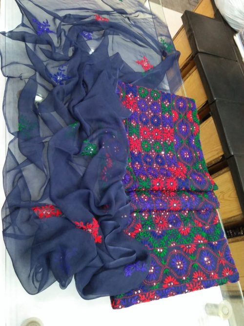 Sheppoon Dupatta Embroidery, Glass Raw Handwork Embroidery, Blue