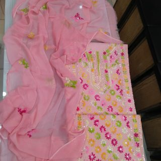 Sheppoon Dupatta Embroidery, Glass Raw Handwork Embroidery, Light Pink