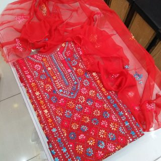 Sheppoon Dupatta Embroidery, Glass Raw Handwork Embroidery, Red