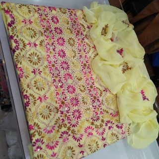 Lone Three Piece Suit, Sheppoon Dupatta Embroidery, Glass Raw Handwork Embroidery